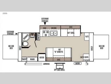 Floorplan - 2016 Forest River RV Rockwood Roo 23SS