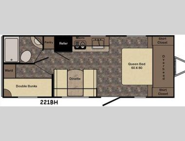 Floorplan - 2016 CrossRoads RV Sunset Trail Ultra Lite 221BH