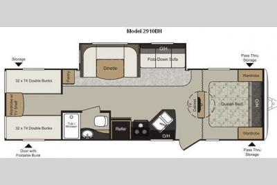 Floorplan - 2012 Keystone RV Passport 2910BH Grand Touring