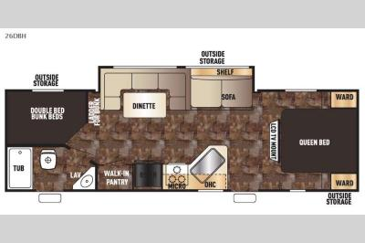 Floorplan - 2015 Forest River RV Cherokee Grey Wolf 26DBH