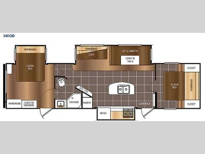 Floorplan - 2017 Prime Time RV Avenger 34DQB
