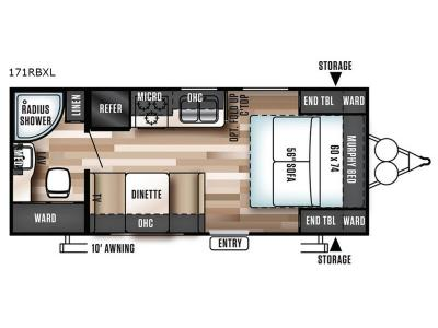 Floorplan - 2017 Forest River RV Wildwood X-Lite 171RBXL