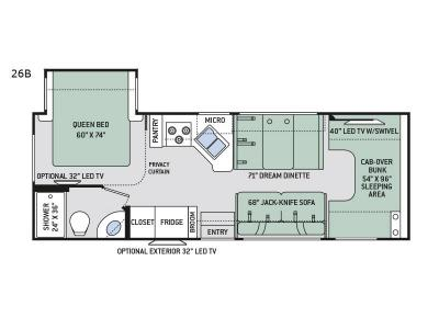 Floorplan - 2017 Thor Motor Coach Four Winds 26B