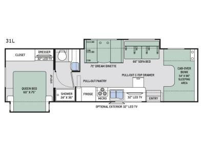 Floorplan - 2017 Thor Motor Coach Four Winds 31L