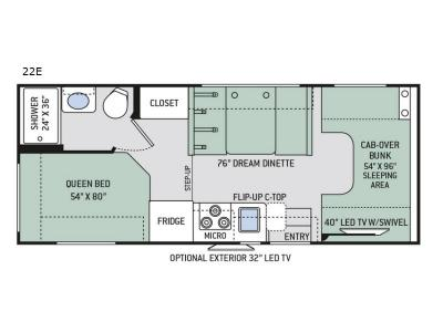 Floorplan - 2017 Thor Motor Coach Four Winds 22E Chevy