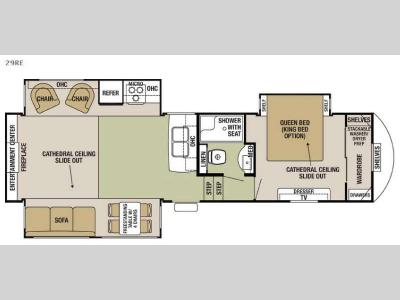Floorplan - 2017 Forest River RV Cedar Creek Silverback 29RE