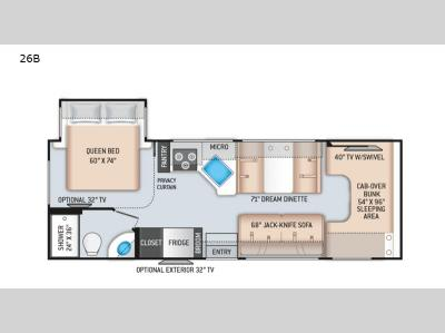Floorplan - 2017 Thor Motor Coach Four Winds 26B Chevy