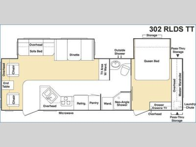 Floorplan - 2005 Keystone RV Cougar 302RLDS