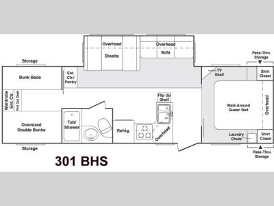 Floorplan - 2004 Keystone RV Cougar 301 BHS