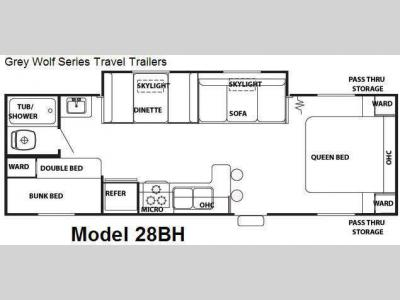 Floorplan - 2008 Forest River RV Cherokee Grey Wolf 28BH