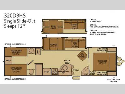 Floorplan - 2008 Fleetwood RV Terry 320DBHS