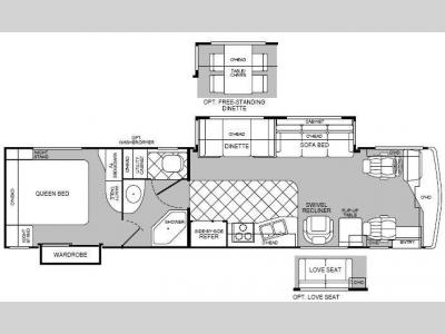 Floorplan - 2000 Fleetwood RV Discovery 36T