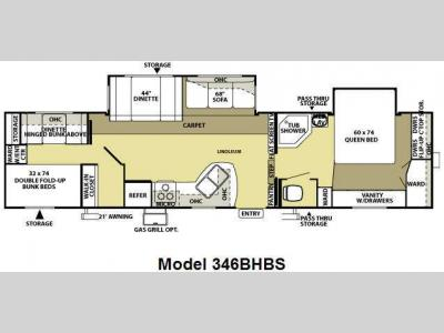 Floorplan - 2009 Forest River RV Wildwood LA 346BHBS