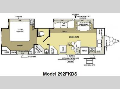 Floorplan - 2009 Forest River RV Wildwood LA 292FKDS