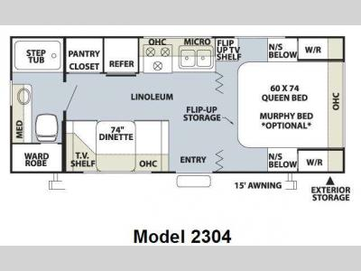 Floorplan - 2009 Forest River RV Rockwood Mini Lite 2304