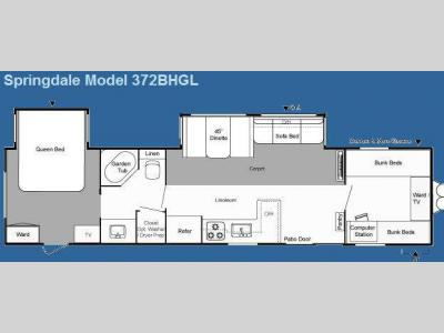 Floorplan - 2009 Keystone RV Springdale East 372BHGL