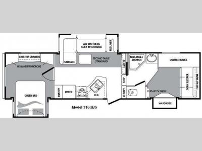 Floorplan - 2009 Keystone RV Cougar 316QBS