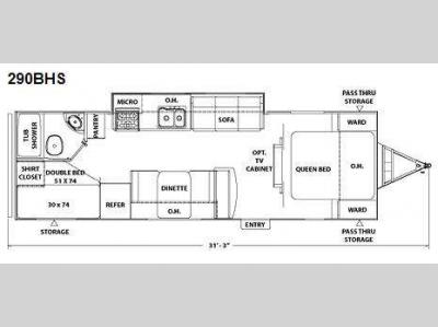 Floorplan - 2010 Coachmen RV Freedom Express 290BHS