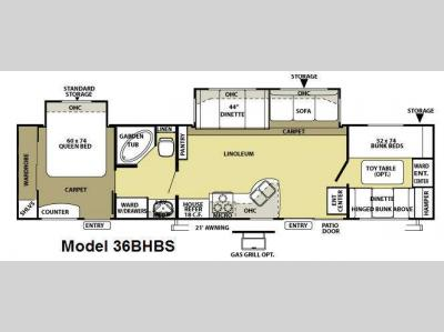 Floorplan - 2009 Forest River RV Salem LE 36BHBS