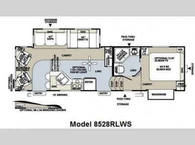 Floorplan - 2010 Forest River RV Flagstaff Classic Super Lite 8528RLWS