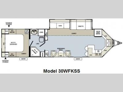 Floorplan - 2010 Forest River RV Flagstaff V-Lite 30WFKSS
