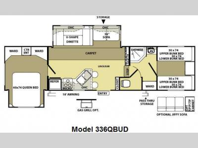 Floorplan - 2010 Forest River RV Wildwood LA 336QBUD