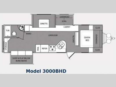 Floorplan - 2010 Prime Time Manufacturing Tracer Ultra Lite 3000BHD