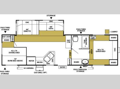 Floorplan - 2005 Forest River RV Wildwood 28 BHSS