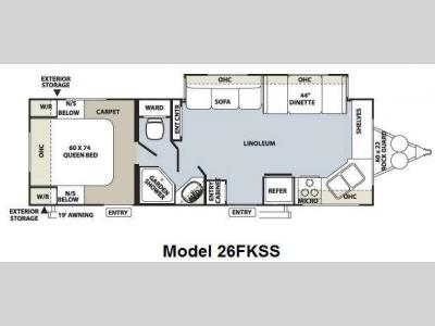 Floorplan - 2010 Forest River RV Flagstaff Super Lite 26FKSS