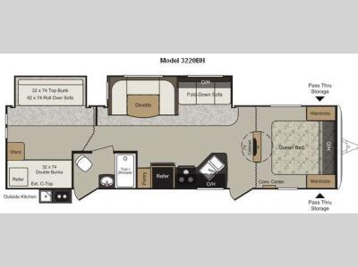 Floorplan - 2011 Keystone RV Passport 3220BH Grand Touring