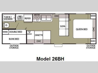 Floorplan - 2012 Forest River RV Cherokee Grey Wolf 26BH