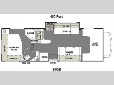 Floorplan - 2012 Coachmen RV Freelander 26QB Ford 450