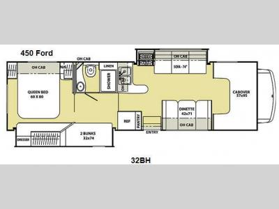Floorplan - 2012 Coachmen RV Freelander 32BH Ford 450