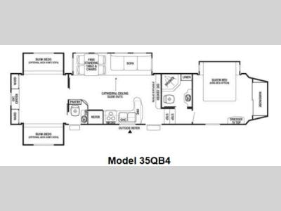 Floorplan - 2012 Forest River RV Cedar Creek Silverback 35QB4