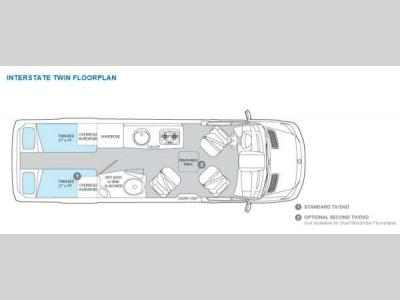 Floorplan - 2012 Airstream RV Interstate Interstate Twin Bed