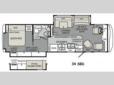 Floorplan - 2012 Holiday Rambler Vacationer 34SBD