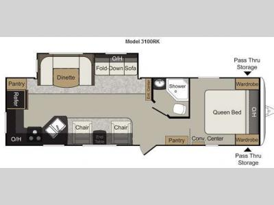 Floorplan - 2012 Keystone RV Passport 3100RK Grand Touring
