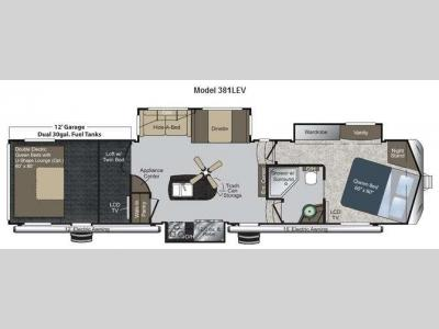 Floorplan - 2012 Keystone RV Raptor 381LEV