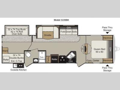 Floorplan - 2013 Keystone RV Passport 3220BH Grand Touring