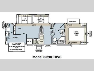 Floorplan - 2013 Forest River RV Flagstaff Classic Super Lite 8528BHWS