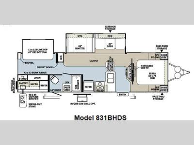 Floorplan - 2013 Forest River RV Flagstaff Classic Super Lite 831BHDS
