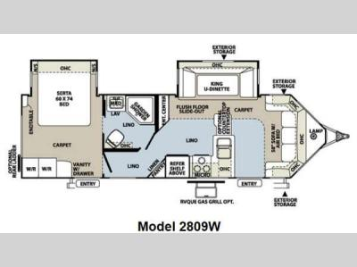 Floorplan - 2013 Forest River RV Rockwood Wind Jammer 2809W