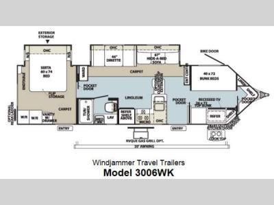 Floorplan - 2013 Forest River RV Rockwood Wind Jammer 3006WK