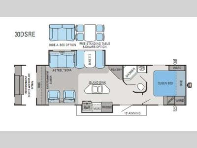 Floorplan - 2013 Jayco White Hawk 30DSRE