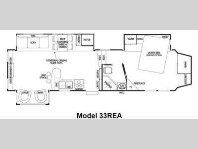 Floorplan - 2013 Forest River RV Cedar Creek Silverback 33REA