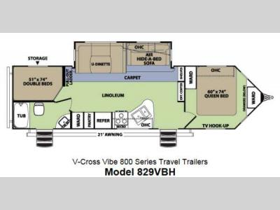 Floorplan - 2013 Forest River RV V-Cross Vibe 829VBH