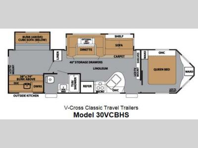 Floorplan - 2013 Forest River RV V-Cross Classic 30VCBHS