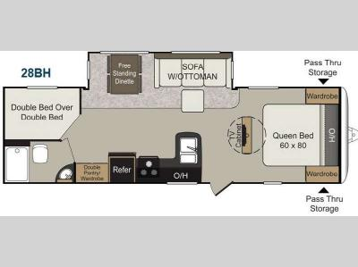 Floorplan - 2014 Keystone RV Passport 28BH Elite