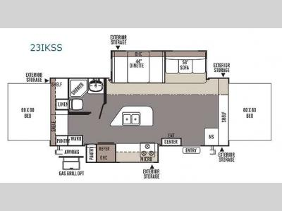 Floorplan - 2014 Forest River RV Flagstaff Shamrock 23IKSS