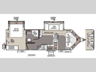 Floorplan - 2014 Forest River RV Rockwood Wind Jammer 2809W